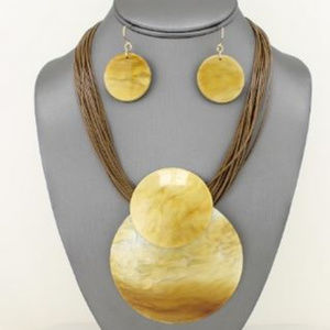 Jewelry - Taupe Tortoise Dome Pendant Necklace